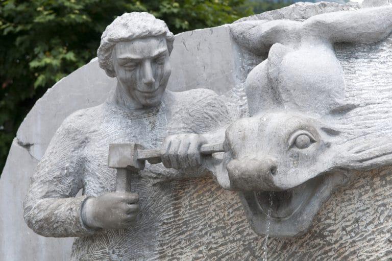 Fontaine des tailleurs de pierre à Samoëns