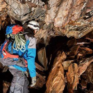 Young,Speleologist,Exploring,A,Cave
