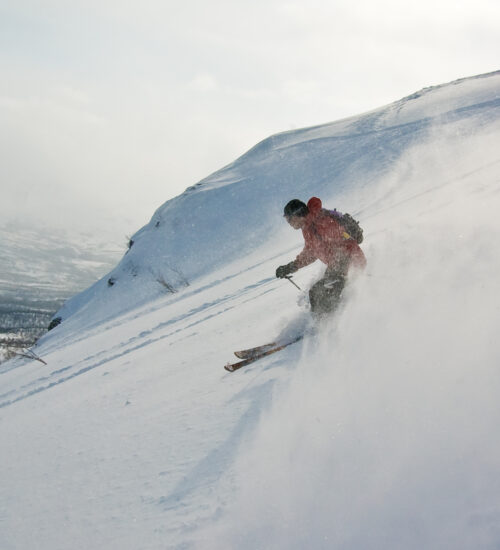 Off-piste skiing in northern Sweden. Nuolja, Abisko, Lappland, Sweden.