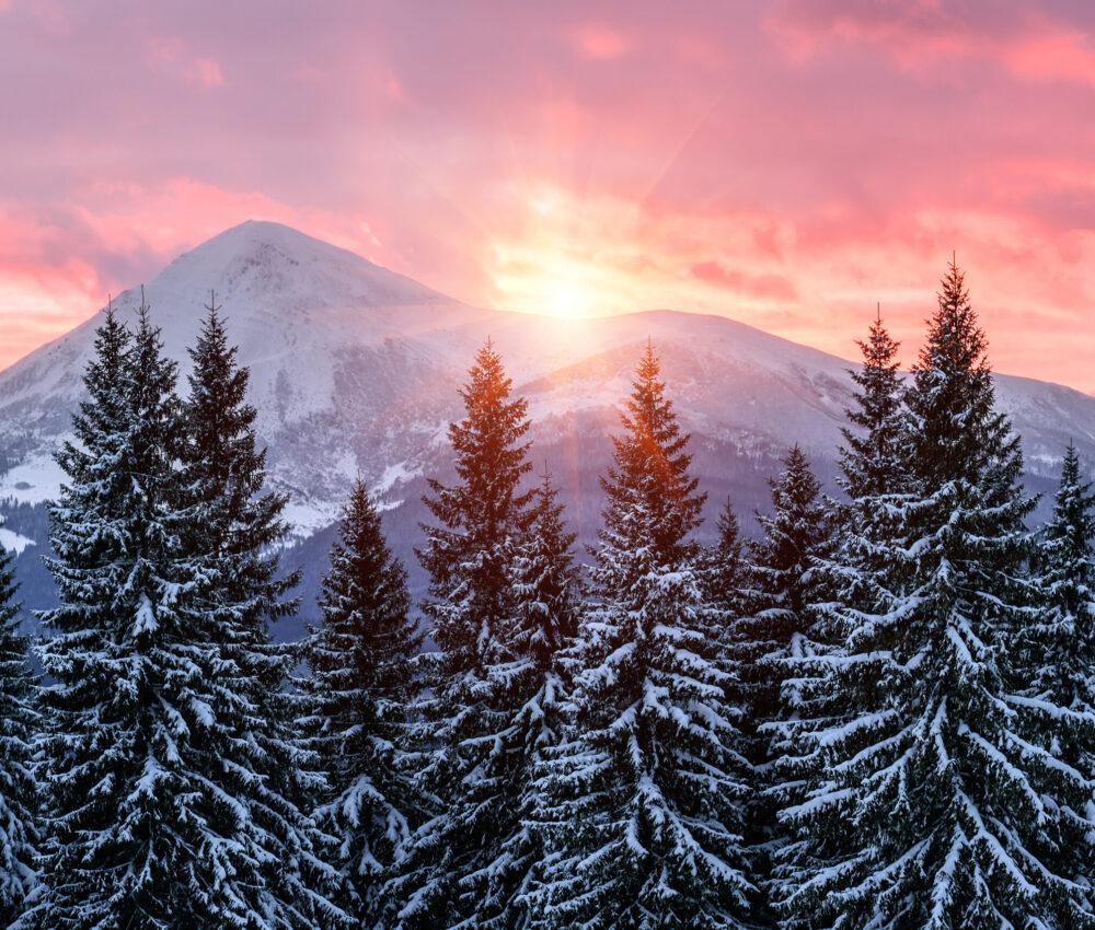 Coucher de soleil, hiver, montagne